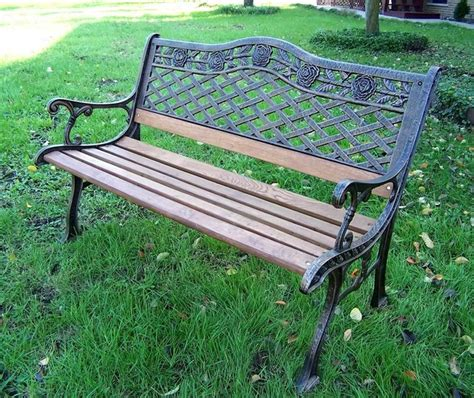wood and wrought iron bench oak wood cast iron bench w tea rose motif contemporary
