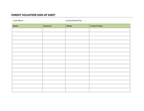 volunteer sign up sheet template haisume