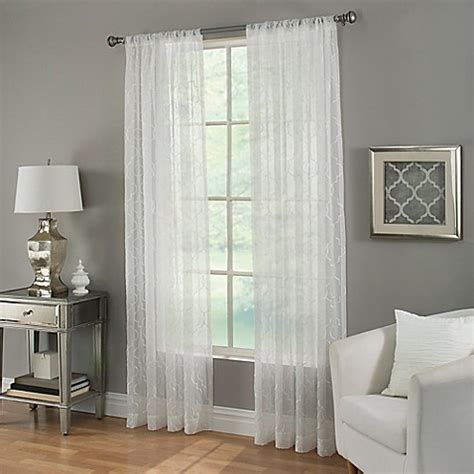 63 White Curtains Buy Kendall Sheer 63 Inch Rod Pocket Window Curtain Panel In White From Bed Bath Beyond