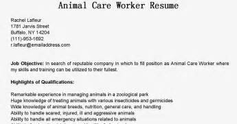 resume sles animal care worker resume