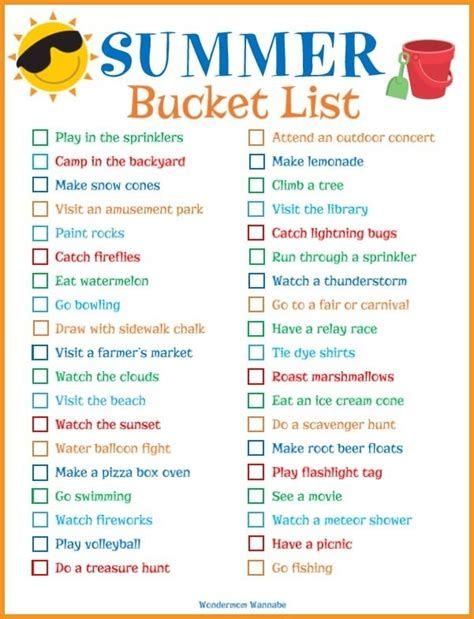 printable summer list