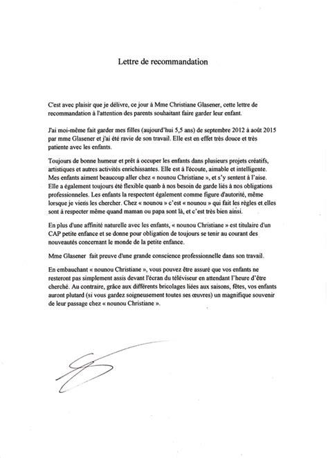 Lettre De Recommandation Bonne Conduite Lettres De Recommandation Assistante Maternelle Agr 233 233 E Le De Nounouchristiane