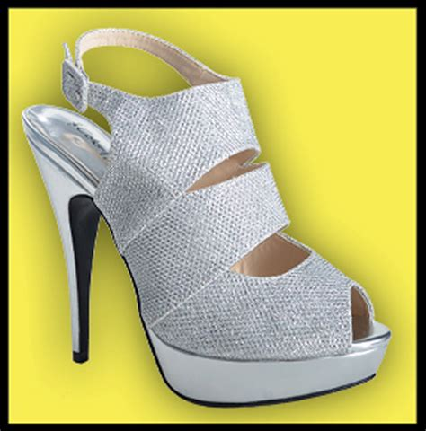 silver and glitter high heel prom shoe inez