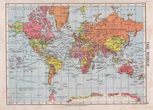 World Map 1950 by 1950s Vintage World Map Print Bright Colours Political World