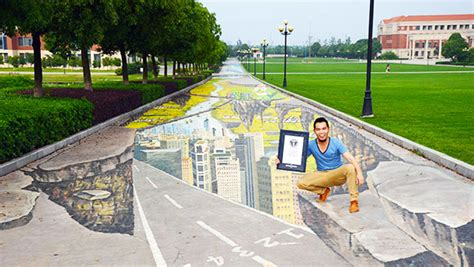 3d street mural breaks the guinness world record video in pictures incredible 3d street art sets anamorphic
