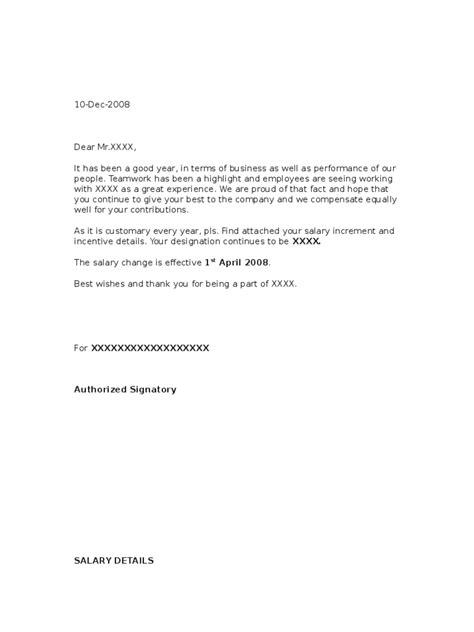 Hourly Raise Letter Salary Increment Letter Template 2 Free Templates In Pdf Word Excel