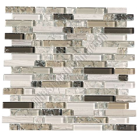 crackle glass tile and marble linear mosaic 5 8 x linear strips sticks of crackled glossy