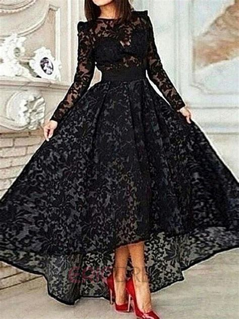 long sleeve lace prom dresses ericdress long sleeve a line asymmetrical length lace