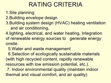 design criteria construction green building