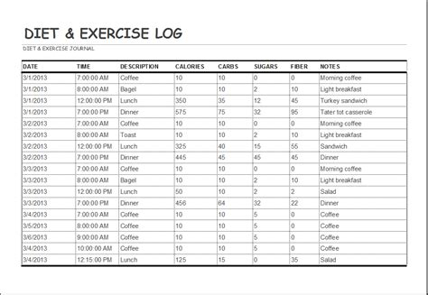 food and exercise diary template diet and exercise log template word excel templates