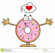 Funny Donut Cartoon Character With Sprinkles Thinking Of