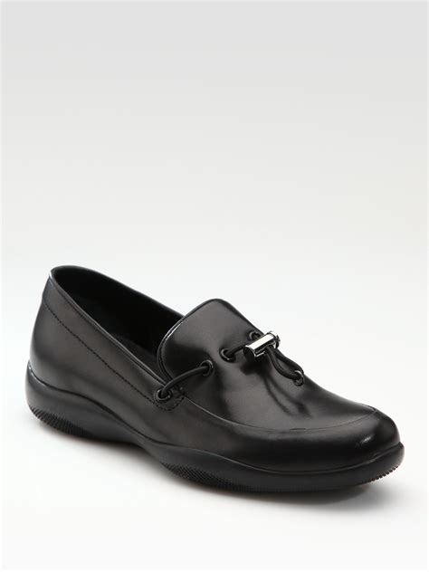 prada black loafers womens prada toggle loafers in black lyst