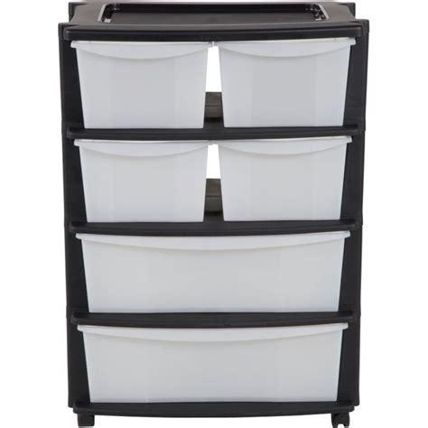 buy home 6 drawer plastic wide tower storage unit black