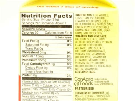 8 Food Facts by Egg Beaters Nutrition Facts Dandk