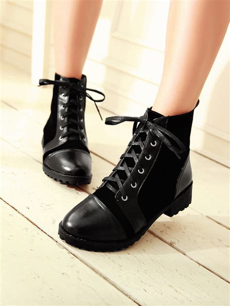 patchwork lace up pointed toe flat ankle boots