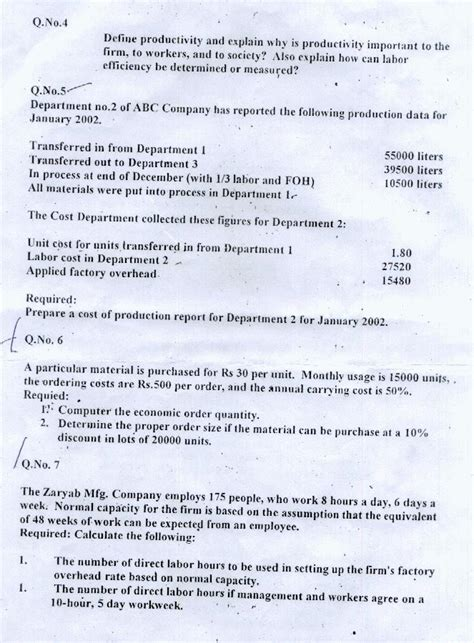 Mba In Cost And Management Accounting by Aiou Mba Cost And Management Accounting Papers