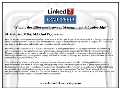 Ma In Management Vs Mba by Management Vs Leadership Linked 2 Leadership
