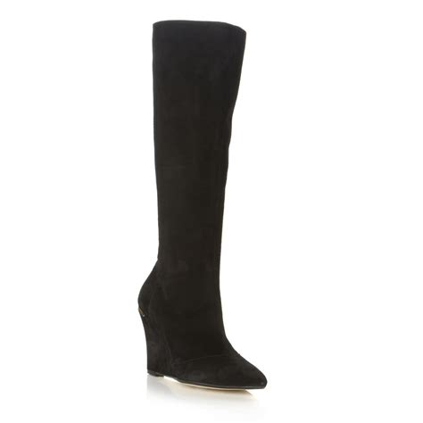 new dune samirah womens black suede knee high wedge