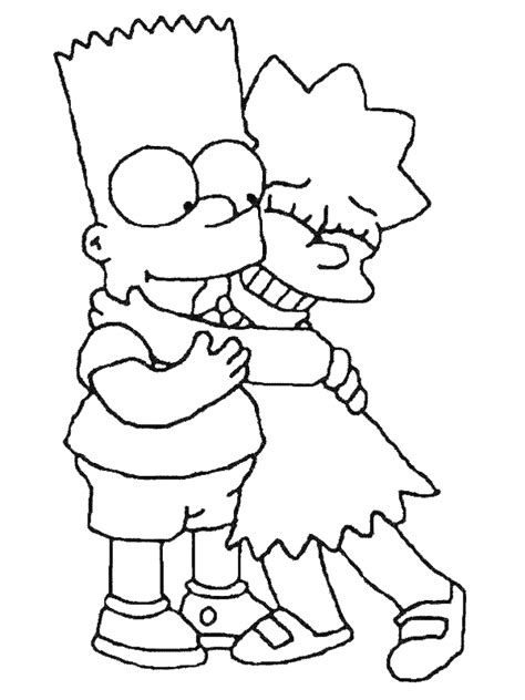 coloring page bart lisa simpson coloring me