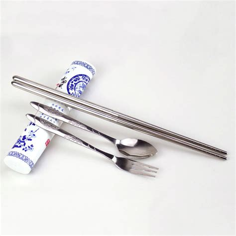 Set Fork Spoon Chopstick travel stainless steel fork chopsticks boxed spoon set