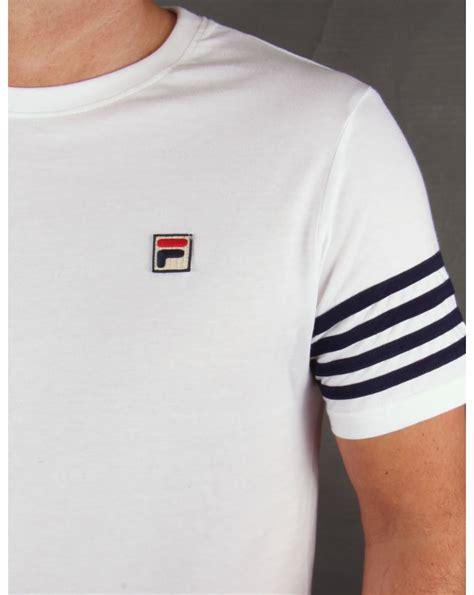 fila vintage 4 stripe t shirt white crew neck striped mens