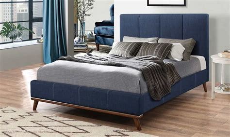 charity mid century blue fabric bed kfrooms