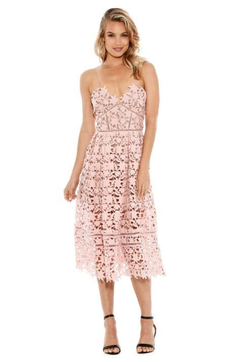 Azalea Dress azalea lace midi dress in pale pink by self portrait for rent