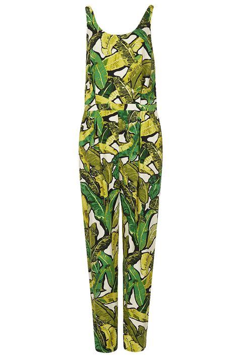 green leaf pattern jumpsuit lyst topshop leaf print jumpsuit in green