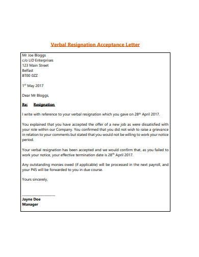 acceptance resignation letter templates word