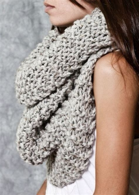 grey knit scarf chunky knit circle loop cowl infinity scarf snood