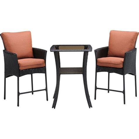 Hanover Strathmere Allure 3 Piece All Weather Wicker Square Patio Bar Height Dining Set with