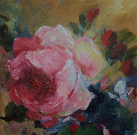 acrylic painting roses late summer acrylic impressionist daily painting