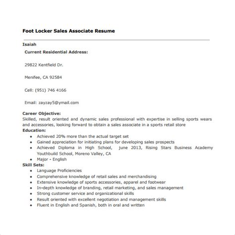 sle resume format for sales associate sle resume retail