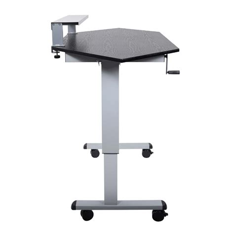 adjustable height stand up desk luxor adjustable height stand up corner desk silver and