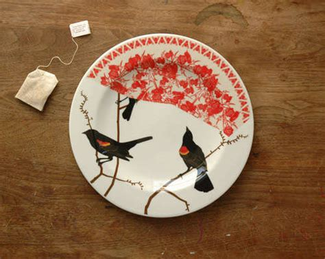art plates avian collaged plate art bird motifs