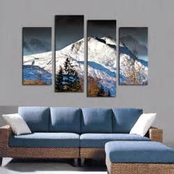 bedroom canvas art 4 pcs canvas wall paintings snow mountain decorative oil
