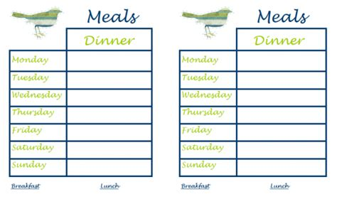 meal cards templates free printable menu templates printable menu planner