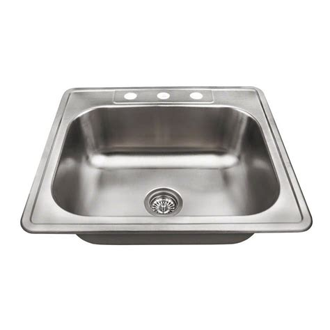 Top Mount Kitchen Sinks Stainless Steel Water Creation Top Mount Zero Radius Stainless Steel 25 In 1 Single Bowl Kitchen Sink With