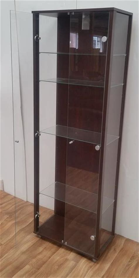Brown Walnut Glass Display Cabinet 2 Doors 4 Shelves Glass Used Display Cabinets With Glass Doors