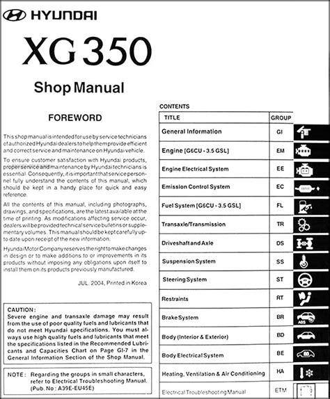 free online car repair manuals download 2011 hyundai accent navigation system 2005 hyundai xg 350 repair shop manual original