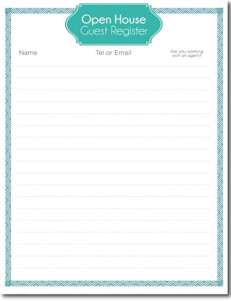 open house guest registration form template choice image