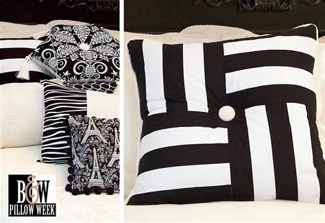 black and white striped pillow black white pillow pile squares stripes sew4home