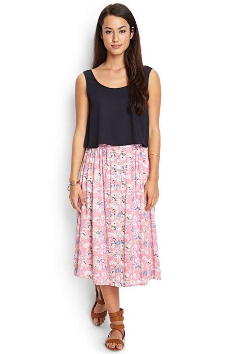 Buttoned Midi Skirt forever 21 buttoned floral midi skirt in pink lyst
