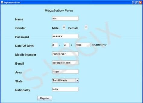 form design in java swing registration form using swing