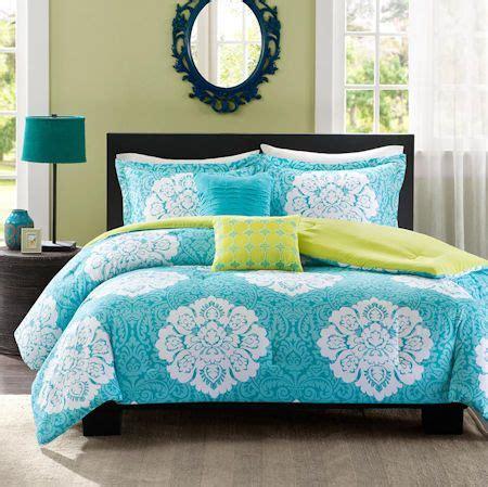 teal blue green damask scroll bedding teen girl twin xl fullqueen king comforterquilt duvet