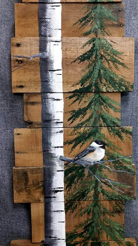 painted wooden trees pallet tree bird wall 99 pallets