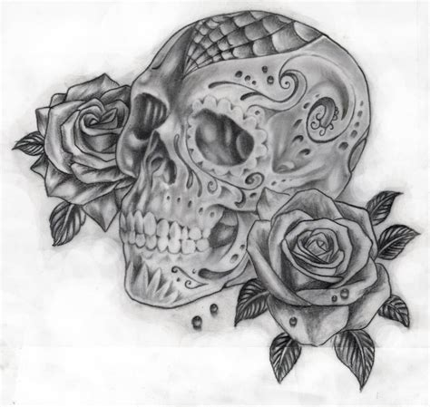 tattoos of sugar skulls and roses and skull cake ideas and designs