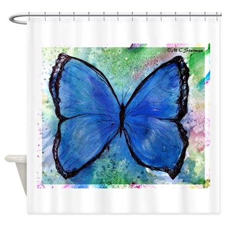 blue butterfly shower curtain butterfly blue butterfly art shower curtain by mcbutterfly4