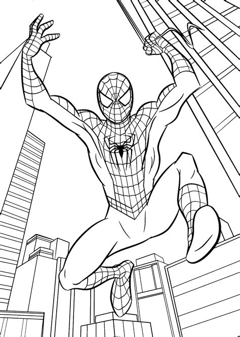 spiderman birthday coloring page spider man jumps coloring pages for kids printable free