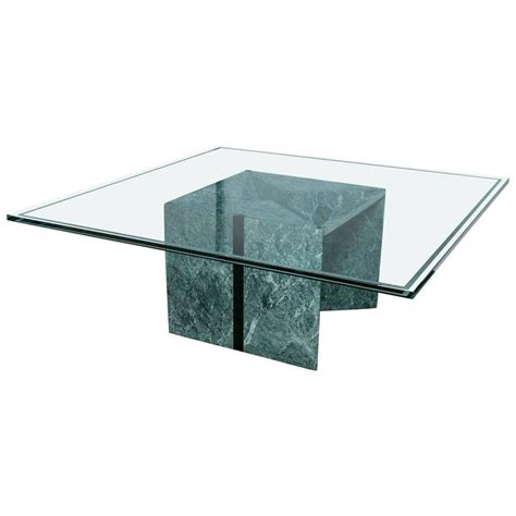 glass and marble coffee table for sale at 1stdibs